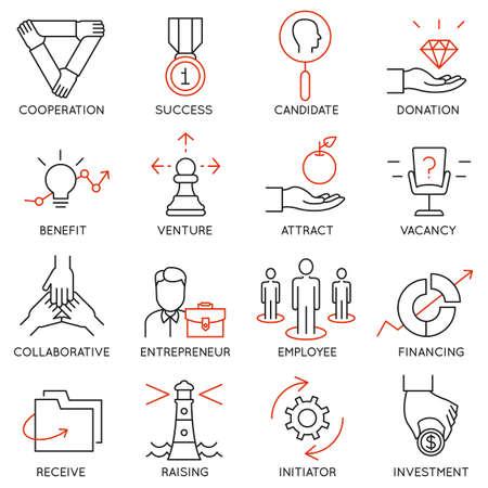 Conjunto de vectores de 16 iconos relacionados con la gestión de negocios, estrategia, desarrollo de la carrera y de procesos de negocio. Mono pictogramas de línea y la infografía elementos de diseño - parte 30 Ilustración de vector