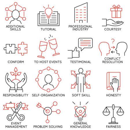Conjunto de vectores de 16 iconos relacionados con la gestión de negocios, estrategia, desarrollo de la carrera y de procesos de negocio. Mono pictogramas de línea y la infografía elementos de diseño - parte 28