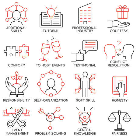communication icon: Vector set of 16 icons related to business management, strategy, career progress and business process. Mono line pictograms and infographics design elements - part 28