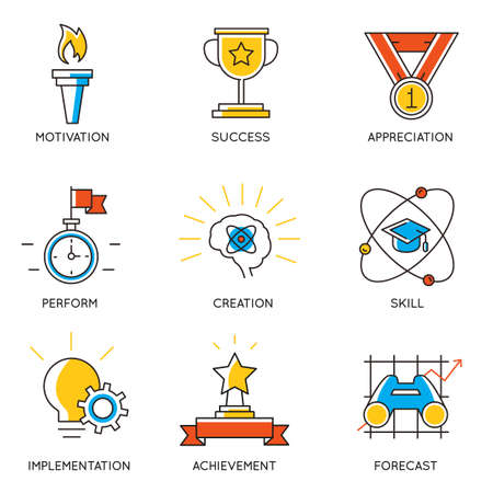 progress: Vector set of icons related to career progress and business management. Infographics design elements - part 1 Illustration