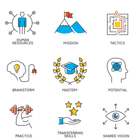 advantages: Vector set of icons related to career progress and business management. Infographics design elements - part 2