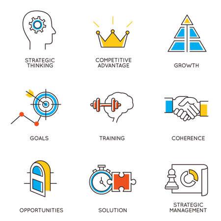 mente: Vector conjunto de iconos relacionados con el desarrollo de la carrera y la gestión empresarial. Infografía elementos de diseño - parte 3