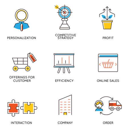gestion empresarial: Vector conjunto de iconos relacionados con el desarrollo de la carrera y la gestión empresarial. Infografía elementos de diseño - parte 5