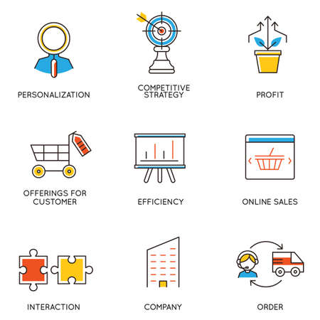 marketing icon: Vector set of icons related to career progress and business management. Infographics design elements - part 5
