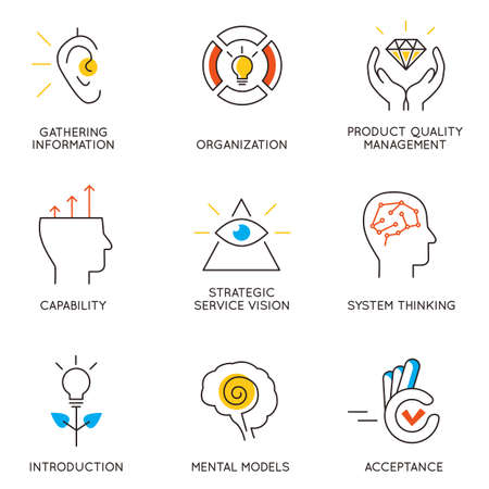 Vector set of icons related to career progress and business management. Infographics design elements - part 6