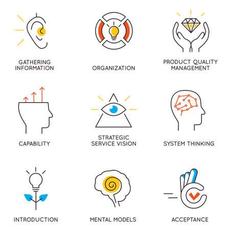 pensamiento estrategico: Vector conjunto de iconos relacionados con el desarrollo de la carrera y la gestión empresarial. Infografía elementos de diseño - Parte 6