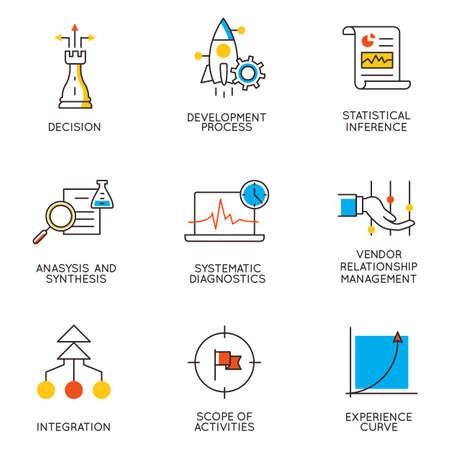 gestion empresarial: Vector conjunto de iconos relacionados con el desarrollo de la carrera y la gestión empresarial. Infografía elementos de diseño - Parte 9 Vectores