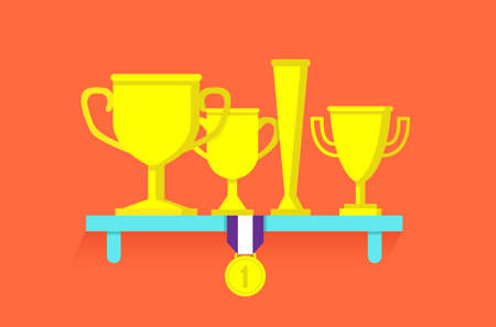 Trophies and awards on shelf - vector illustration