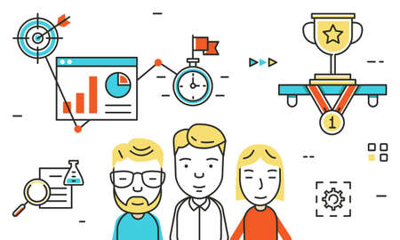 competencias laborales: el diseño ilustración vectorial línea plana para el crecimiento profesional, la colaboración, el trabajo en equipo de negocios, habilidades de equipo para el sitio web banner y página de destino - vector de la bandera Vectores