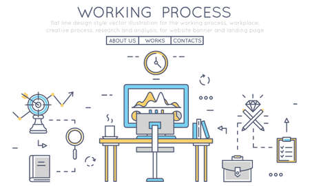 business services: Flat line design style vector illustration for the working process, workplace, creative process, research and analysis, for website banner and landing page