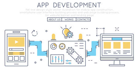 Flat line design style vector illustration for mobile app construction, smartphone user interface building process and web page building process, for website banner and landing page