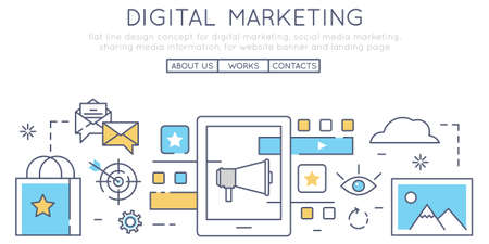 branching: Flat line design concept for digital marketing, social media marketing, sharing media information, for website banner and landing page Illustration