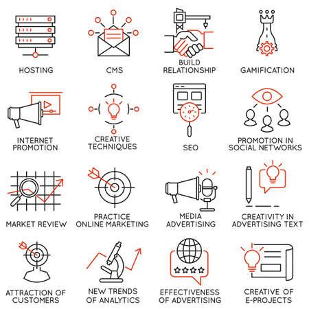 negociacion: Conjunto de vectores de 16 iconos relacionados con la gestión de negocios, estrategia, desarrollo de la carrera y de procesos de negocio. pictogramas mono de línea y la infografía elementos de diseño - parte 32 Vectores