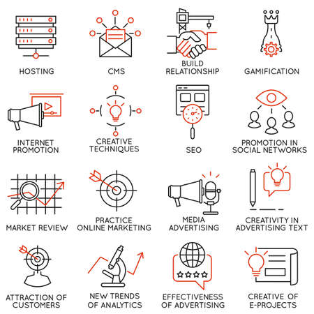 content: Vector set of 16 icons related to business management, strategy, career progress and business process. Mono line pictograms and infographics design elements - part 32