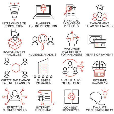 expertise: Vector set of 16 icons related to business management, strategy, career progress and business process. Mono line pictograms and infographics design elements - part 33