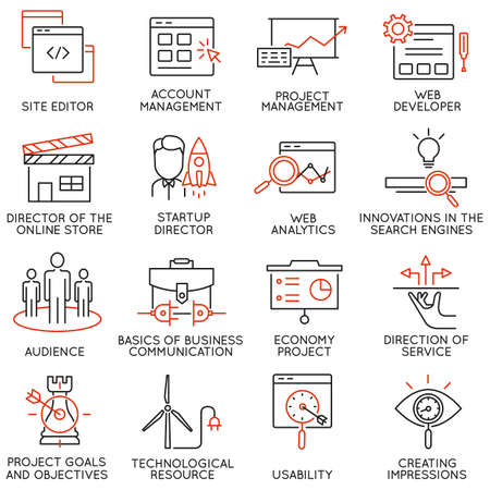 Vector set of 16 icons related to business management, strategy, career progress and business process. Mono line pictograms and infographics design elements - part 31