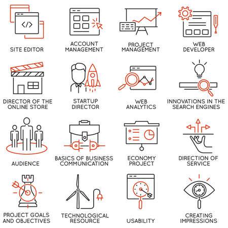 Vector set de 16 icônes liées à la gestion de l'entreprise, la stratégie, la progression de carrière et de processus d'affaires. pictogrammes mono-ligne et des infographies éléments de conception - partie 31