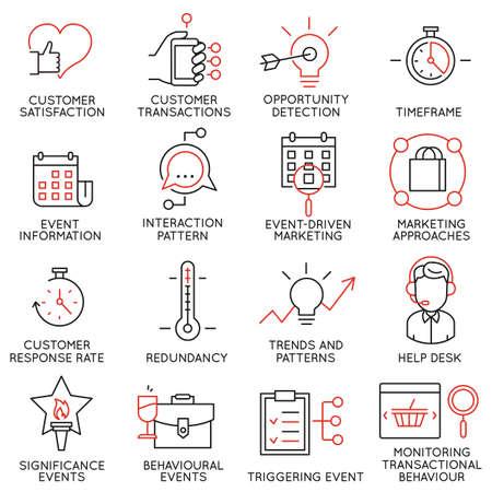 Conjunto de vectores de 16 iconos relacionados con la gestión de negocios, estrategia, desarrollo de la carrera y de procesos de negocio. pictogramas mono de línea y la infografía elementos de diseño - parte 34 Ilustración de vector