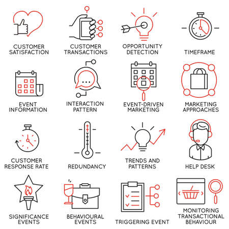 crm: Vector set of 16 icons related to business management, strategy, career progress and business process. Mono line pictograms and infographics design elements - part 34 Illustration