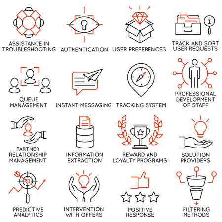 Vector set of 16 icons related to business management, strategy, career progress and business process. Mono line pictograms and infographics design elements - part 35