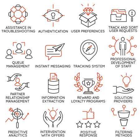 Vector set di 16 icone relative alla gestione aziendale, strategia, avanzamento di carriera e dei processi di business. pittogrammi Mono linea e infografica elementi di design - parte 35