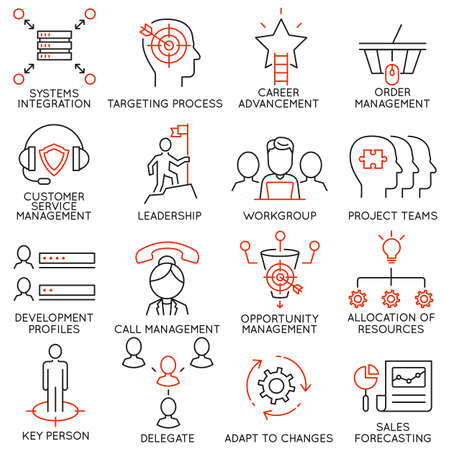 cohesion: Vector set of 16 icons related to business management, strategy, career progress and business process. Mono line pictograms and infographics design elements - part 36