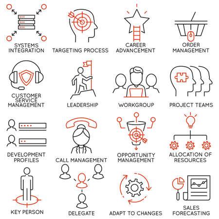 Vector set van 16 pictogrammen met betrekking tot business management, strategie, carrièreverloop en business process. Mono lijn pictogrammen en infographics design elementen - deel 36