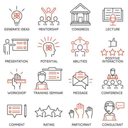 gestion: Conjunto de vectores iconos relacionados con el desarrollo de la carrera, la gestión empresarial, la formación de personas de negocios y servicio de consultoría profesional. pictogramas y la infografía elementos de diseño de la línea de mono