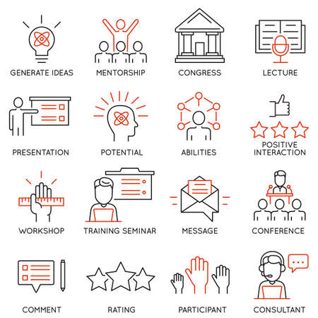 Vector set icons related to career progress, corporate management, business people training and professional consulting service. Mono line pictograms and infographics design elements