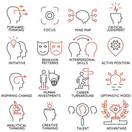 Vector set di 16 icone relative alla gestione aziendale, strategia, avanzamento di carriera e dei processi di business. pittogrammi Mono linea e infografica elementi di design - parte 37