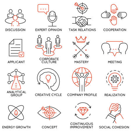 Conjunto de vectores de 16 iconos relacionados con la gestión de negocios, estrategia, desarrollo de la carrera y de procesos de negocio. pictogramas mono de línea y la infografía elementos de diseño - parte 38
