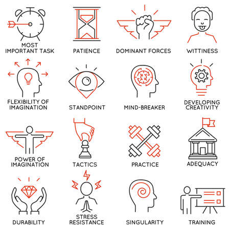 adequacy: Vector set of 16 icons related to business management, strategy, career progress and business process. Mono line pictograms and infographics design elements - part 39