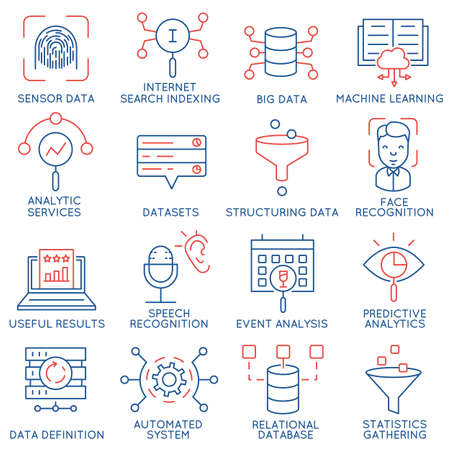 Vector set of 16 icons related to business and data management, analytic service and datasets. Mono line pictograms and infographics design elements - part 1 Vectores