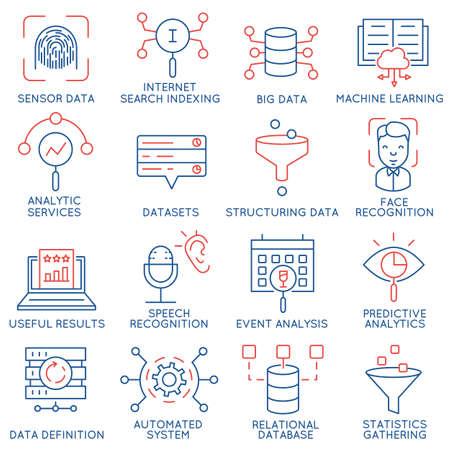 Vektor-Satz von 16 Icons im Zusammenhang mit Geschäfts- und Datenmanagement, analytische Service und Datensätze. Mono Linie Piktogramme und Infografik-Design-Elemente - Teil 1