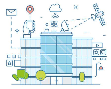 スマートの近代都市と生活技術の将来の事、インターネットのベクトル イラスト。スマート環境