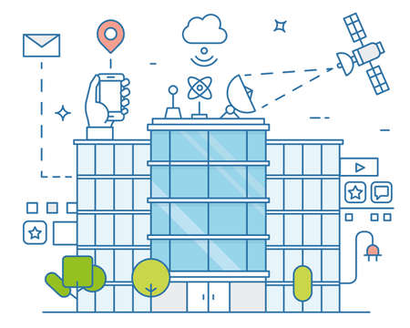 Vector illustration of smart modern city and internet of things, future technology for living. Smart environments