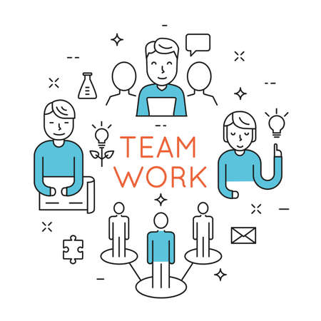 crm: Flat line design concept of teamwork, people organization, human resource management,  group of people planning, brainstorming idea of business strategy - vector illustration