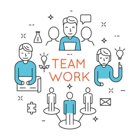 Flat line design concept of teamwork, people organization, human resource management, group of people planning, brainstorming idea of business strategy - vector illustration Векторная Иллюстрация