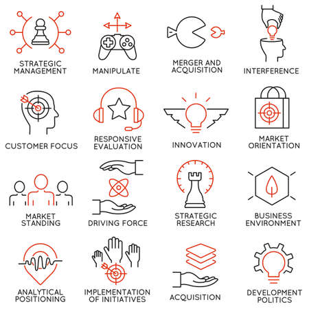 adequacy: Vector set of 16 icons related to business management, strategy, career progress and business process. Mono line pictograms and infographics design elements - part 40