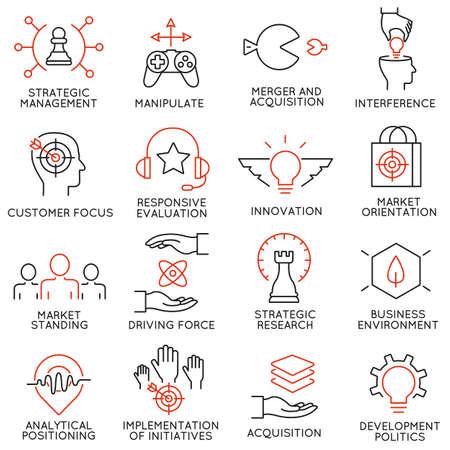 Vector set van 16 pictogrammen met betrekking tot business management, strategie, carrièreverloop en business process. Mono lijn pictogrammen en infographics design elementen - deel 40