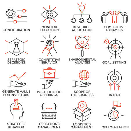 Vector set of 16 icons related to business management, strategy, career progress and business process. Mono line pictograms and infographics design elements