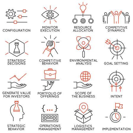 Conjunto de vectores de 16 iconos relacionados con la gestión de negocios, estrategia, desarrollo de la carrera y de procesos de negocio. pictogramas y la infografía elementos de diseño de la línea de mono Ilustración de vector