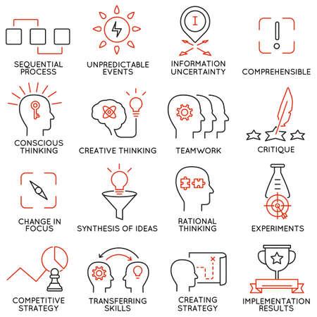 Conjunto de vectores de 16 iconos relacionados con la gestión de negocios, estrategia, desarrollo de la carrera y de procesos de negocio. pictogramas mono de línea y la infografía elementos de diseño - parte 42