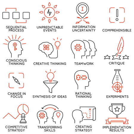 critique: Vector set of 16 icons related to business management, strategy, career progress and business process. Mono line pictograms and infographics design elements - part 42 Illustration