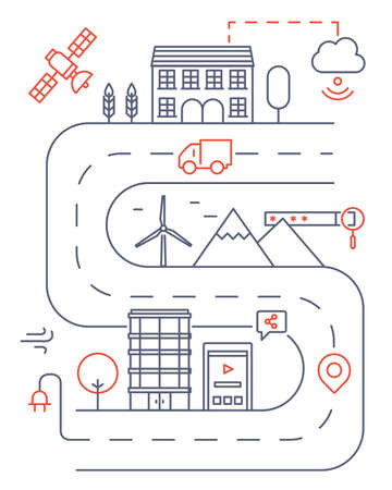living things: Vector illustration of smart modern city and internet of things cloud service, future technology for living Illustration