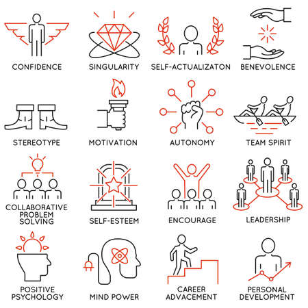coherence: Vector set of 16 icons related to business management, strategy, career progress and business process. Mono line pictograms and infographics design elements