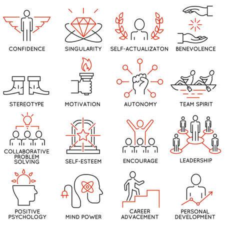 Vector set van 16 pictogrammen met betrekking tot business management, strategie, carrièreverloop en business process. Mono lijn pictogrammen en infographics design elementen