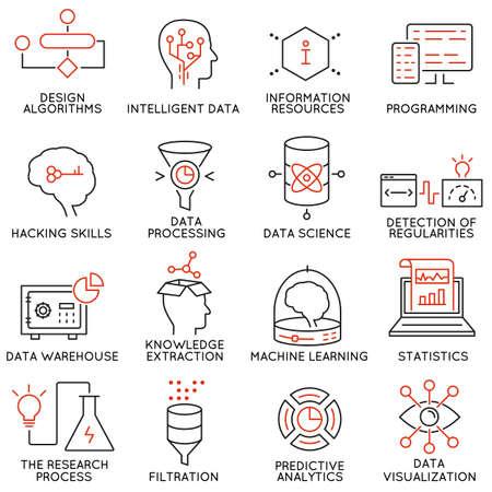 conocimiento: Vector conjunto de 16 iconos relacionados con la gestión empresarial y de datos, servicio de análisis de datos y la ciencia. pictogramas mono de línea y la infografía elementos de diseño - parte 2 Vectores