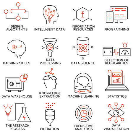 Vector set of 16 icons related to business and data management, analytic service and data science. Mono line pictograms and infographics design elements - part 2 Çizim