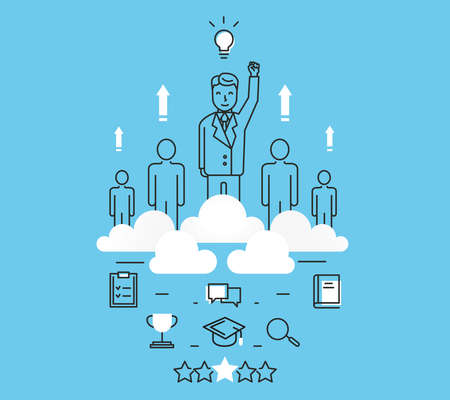 personal growth: Modern vector illustration concept of business people teamwork, human resources and career opportunities Illustration
